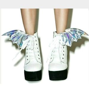 IRON FIST White Boots, Holographic Bat Wings, Sz 7